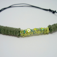 Fabric bead necklace with waxed cotton cord - Fern