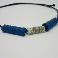 Fabric bead necklace with waxed cotton cord - Brizo