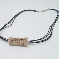 Fabric bead necklace with waxed cotton cord - Norse