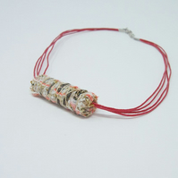 Fabric bead necklace with waxed cotton cord - Gabi