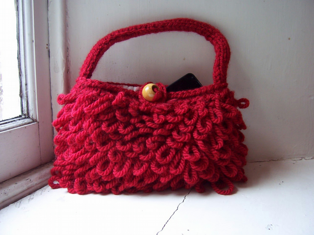 Red hand knitted handbag, loopy stitch - Poppy