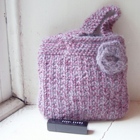 Soft hand knitted evening bag - Mauve