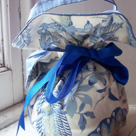 Silk and cotton reversible evening bag - Bluebird