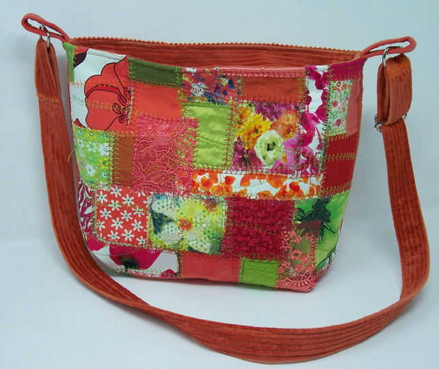 Fabric shoulder bag in zingy tropical colours - Heliconia