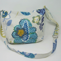 Fabric shoulder bag in pale grey, blue, lime floral print - Hibiscus