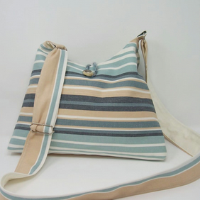 Soft fabric shoulder bag in seaside stripes - Tide Pool
