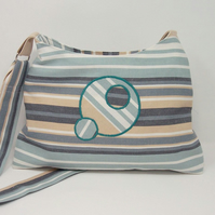 Soft fabric shoulder bag in seaside stripes - Eclipse