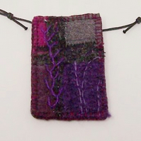 Patchwork hand embroidered necklace - Daria