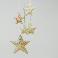 Hand embroidered silk star hanging ornaments - set of 5