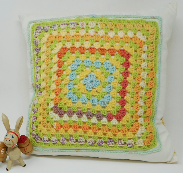 Crochet Granny Square cushion cover with gingham back - Ray of Sunshine