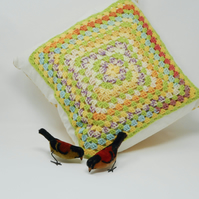 Crochet Granny Square cushion cover with gingham back - Sweet As Honey