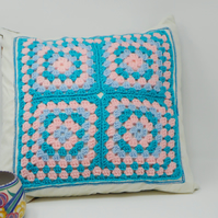 Crochet Granny Square cushion cover with floral back - Country Garden