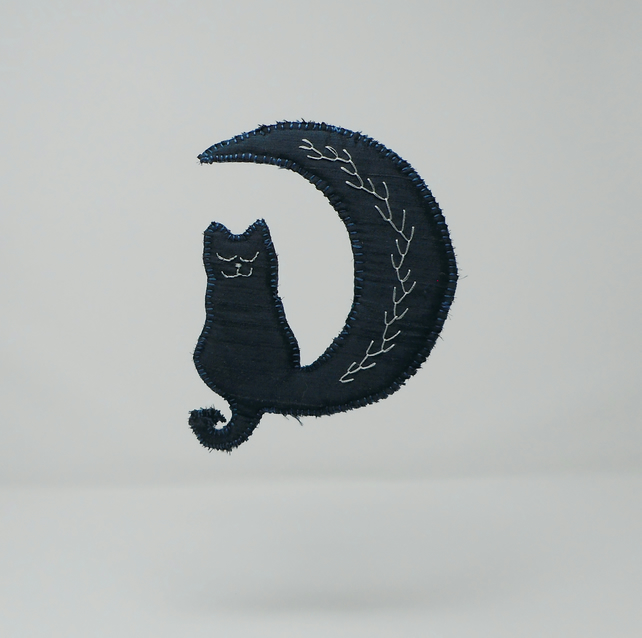 Hand embroidered silk moon and cat hanging ornament
