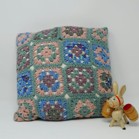 Crochet Granny Square cushion cover - Cool Sage
