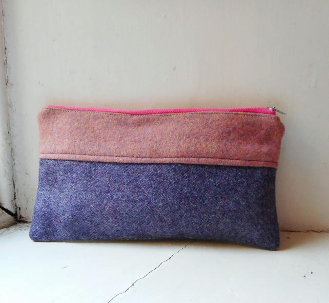 Make up or pencil case in wool and cashmere - Rhona