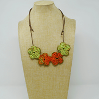 Crochet flower necklace in orange and lime green - Fall