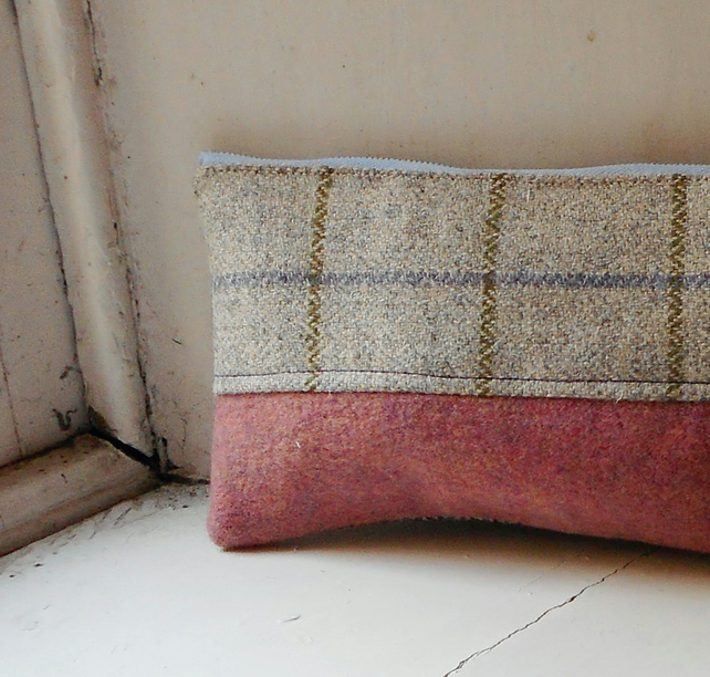 Make up or pencil case in wool and cashmere - Sealga