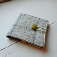 Auchtertool - recycled fabric wallet in harris tweed and cotton