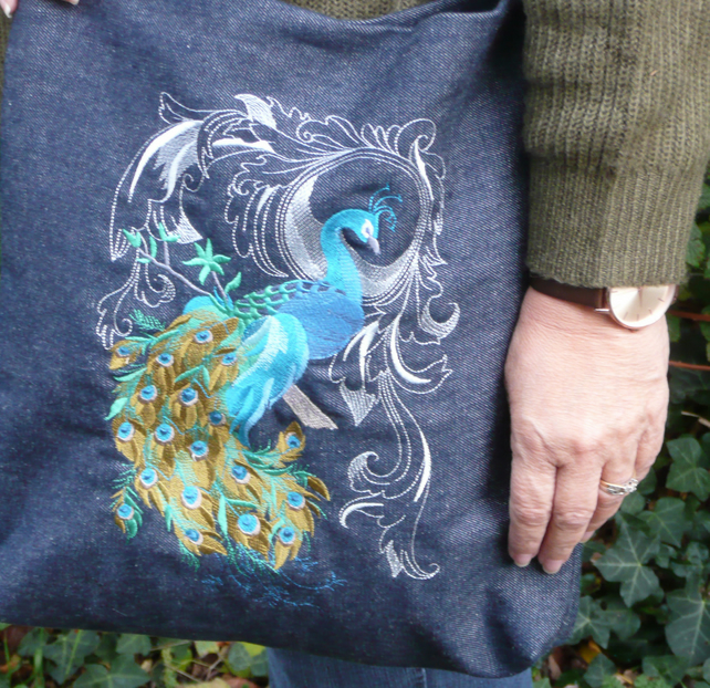 Peacock Machine Embroidered Denim X-Body Bag Tote Blue One of a kind