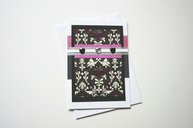 Blank card with hearts and matching envelope pink black & white SALE