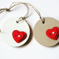 Love Gift Tags Wooden Tag with Red Heart Decoration Wedding