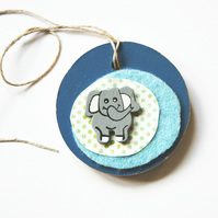 Wooden Tag with an Elephant