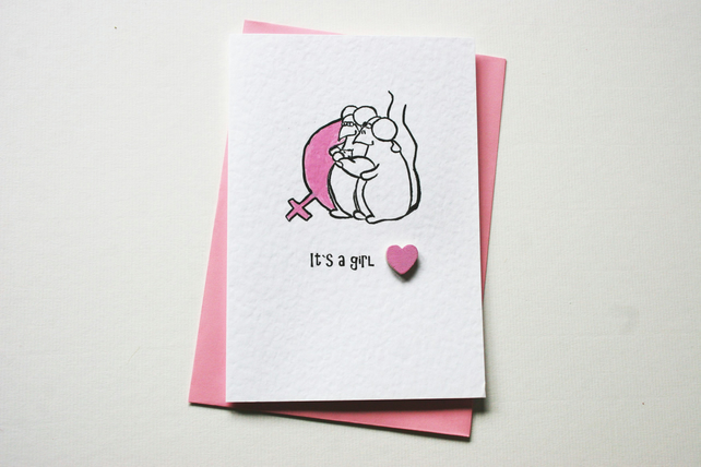 SALE New Baby Girl Card
