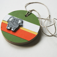Elephant Wooden Gift Tag