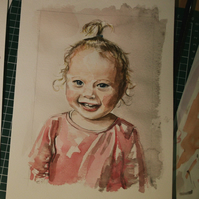 Custom Watercolour portrait from your photograph, size A4
