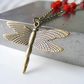 Dragonfly necklace in poppy red - nature inspired jewellery - UK handmade