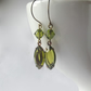 Swarovski earrings in olivine green - vintage style jewellery handmade in the UK