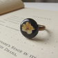 Real flower ring in black