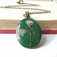 Vintage inspired baby's breath flower pendant in forest green