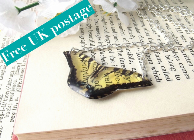 Butterfly necklace - yellow and black - handmade unique jewellery - free postage