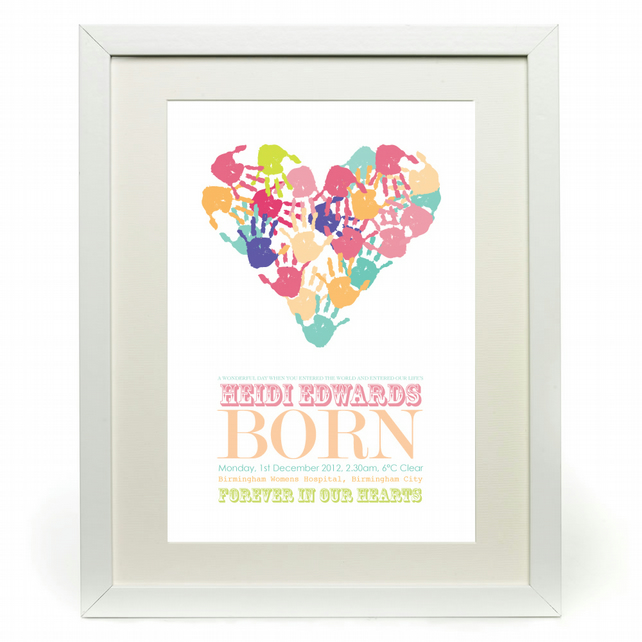 Personalised Handprint Baby Heart - Unique - Beautiful - Very Own Artwork!
