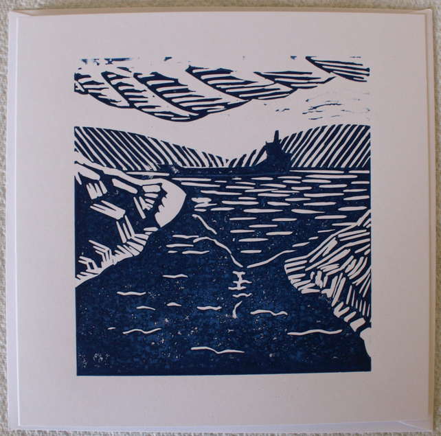Original linocut Estuary Scene card