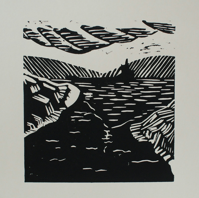Original linocut Estuary Scene card (black)