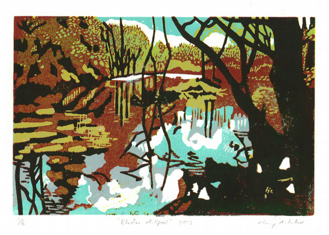 Millpool original linocut (brown)