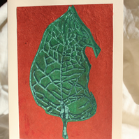 Handprinted leaf linocut collage card (red)