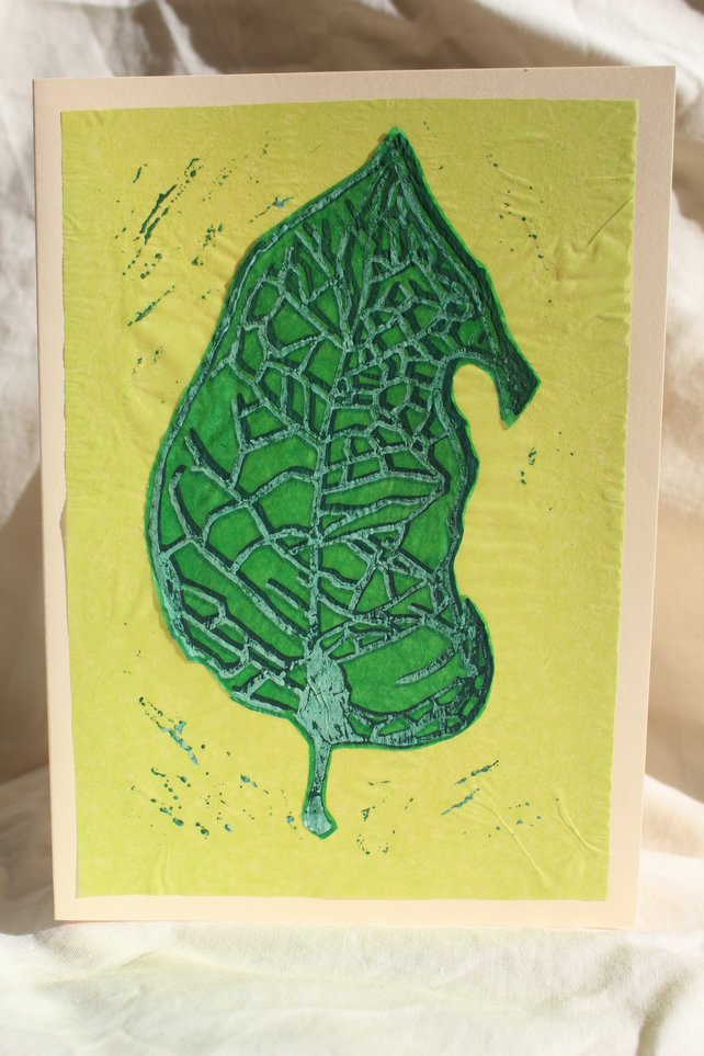 Handprinted leaf linocut collage card