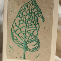 Handprinted leaf linocut card