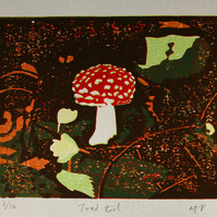 Original Toad Stool reduction linocut