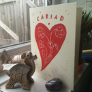 Original Cariad Valentines Day Linocut card