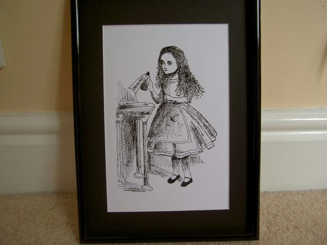 Alice in Wonderland sketch mounted print