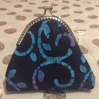 Batik, Fabric, Black, Blue, Kisslock, Coin Purse, Metal Clasp, Frame