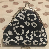 Leopard Print Batik Black and White Kisslock Coin Purse Metal Snap Frame