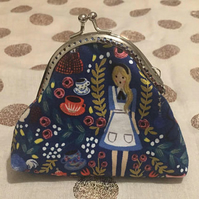 Alice in Wonderland Kisslock Coin Purse Fabric Metal Clasp Frame