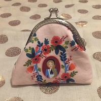Alice in Wonderland, Queen of Hearts, Kisslock, Coin Purse, Metal Clasp, Frame