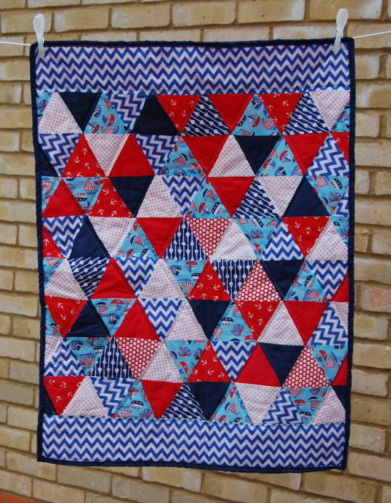 Nautical Patchwork Quilt, Baby Boy Playmat, Triangle, Bunting, Set