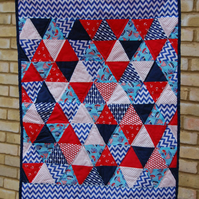 Nautical, Navy, Red, Patchwork, Boys, Quilt, Playmat, Triangle, Bunting, Set